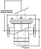Dimensional Drawing for Model 90 Simplex Strainers (Bolted Cover)