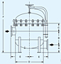 Dimensional Drawing for The MAXILINE™ MBF HD Multi-Bag Filter Housings